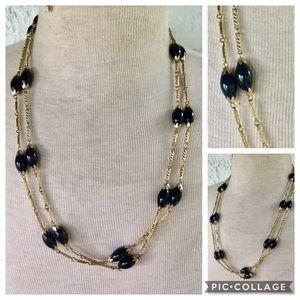 Vintage TAMMY JEWELS Signed Gold Black Necklace